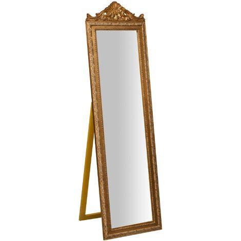 Miroir au sol sur pied L40xPR3xH140 cm, finition dorée antique