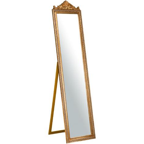 Miroir au sol sur pied L43xPR3xH178 cm, finition dorée antique