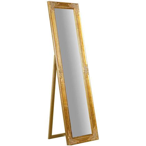 Miroir au sol sur pied L44xPR3xH164 cm, finition dorée antique