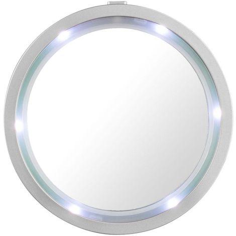 Miroir avec bord LED rond froid blanc éclairage portable salle de bain ventouse aimant Globo 84027