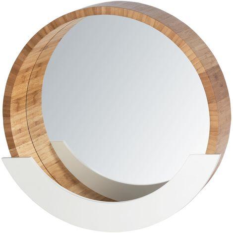 Miroir avec compartiment scandi Finja - Diam. 39 cm - Blanc - Blanc