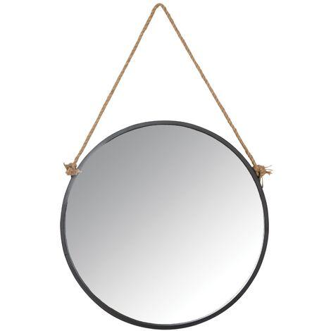 Miroir avec corde Matelot Rond - Noir