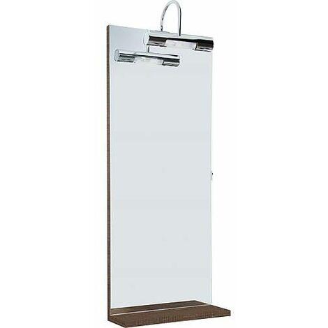 miroir avec éclairage et tablette tranche marron, 350 x 900 ...