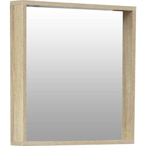 Miroir avec encadrement tablette bois - Naturel