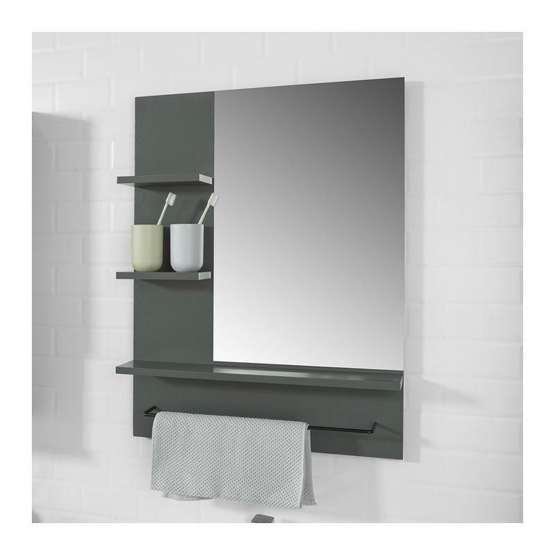 Miroir Avec Porte Serviettes Miroir Mural Miroir De Salle De Bain Avec Etageres Gris Sobuy Bzr23 Dg