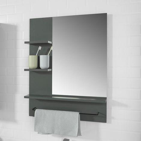 miroir avec porte serviettes miroir mural miroir de salle. Black Bedroom Furniture Sets. Home Design Ideas