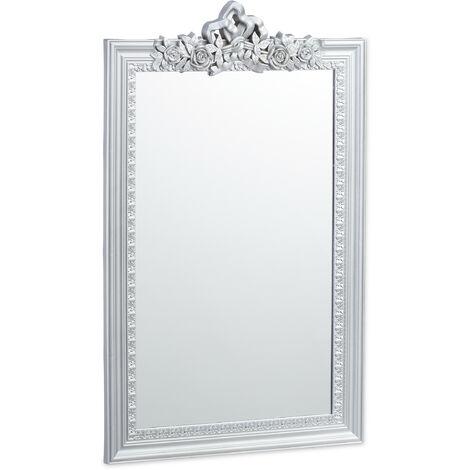 Miroir baroque, Miroir rectangulaire à accrocher, design antique, couloir, salle de bain, argenté