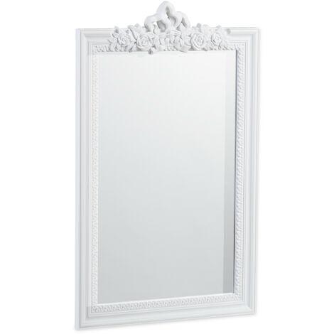 Miroir baroque, Miroir rectangulaire à accrocher, design antique, couloir, salle de bain, Blanc