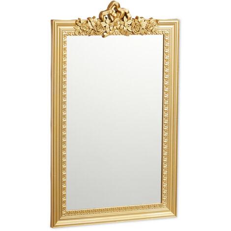 Miroir baroque, Miroir rectangulaire à accrocher, design antique, couloir, salle de bain, doré