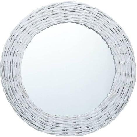 Miroir Blanc 40 cm Osier