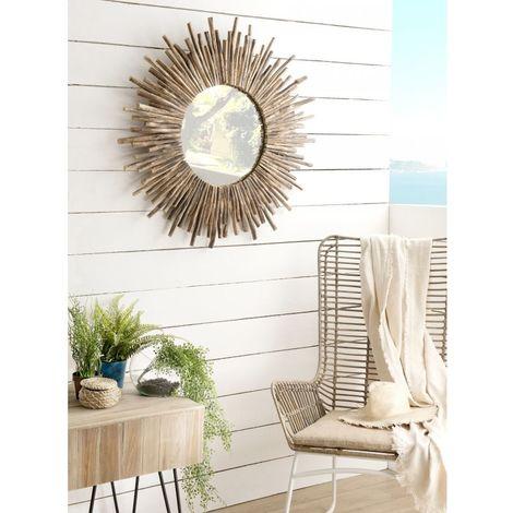 Miroir bois rond soleil nature branches