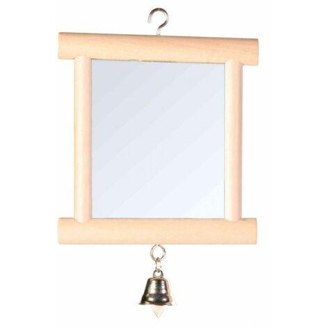 Miroir avec cadre en bois et cloche - 9 × 10 cm