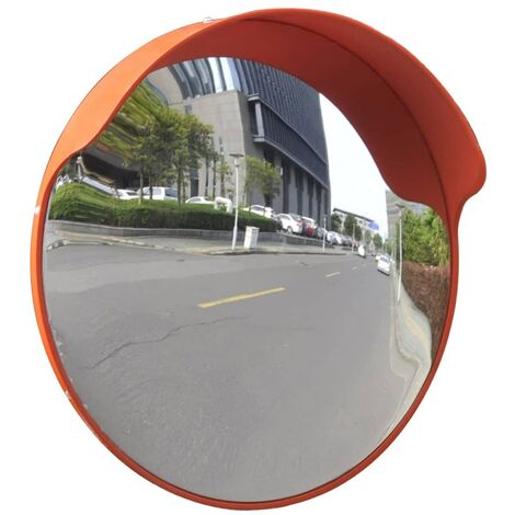 Miroir de trafic convexe d'extérieur Plastique PC Orange 45 cm