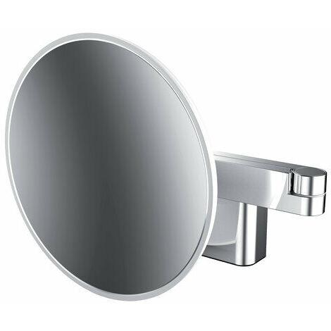 Miroir cosmétique et de rasage à LED Emco, modèle mural, bras articulé double, grossissement 3 fois, rond - 109506031