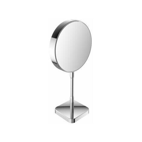 Miroir cosmétique et de rasage Emco, réfléchissant des deux côtés, grossissement 3x et 7x, rond, non éclairé, bras flexible, modèle autoportant - 109500116