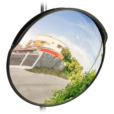 Miroir de circulation 60 cm, professionnel, résistant aux intempéries, solide, intérieur et extérieur, noir
