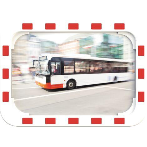 Miroir de circulation H400xl600mm plastique, rouge/blanc 15 m