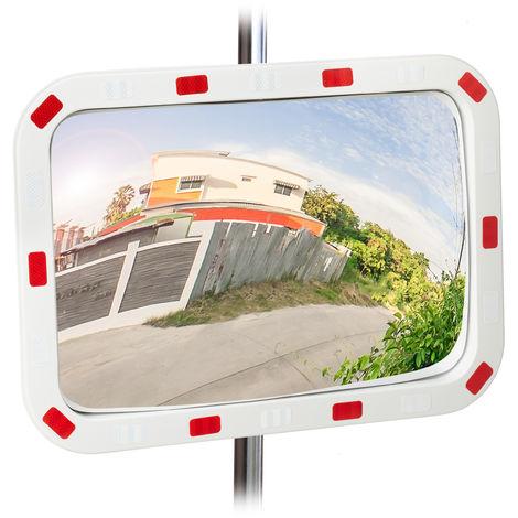 Miroir de circulation, résistant, professionnel, avec fixation, ABS - Plastique, blanc-rouge, 60 x 40 cm
