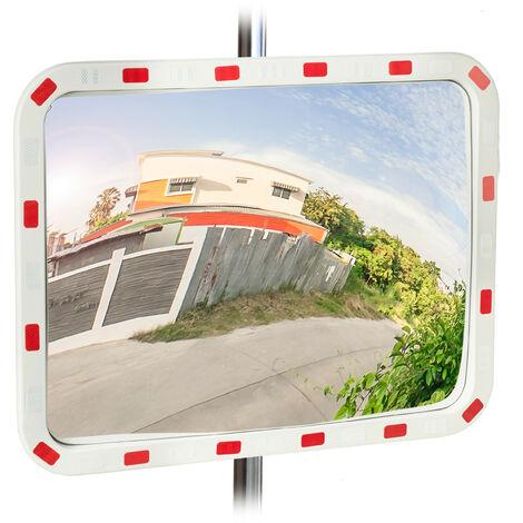 Miroir de circulation, résistant, professionnel, avec fixation, ABS - Plastique, blanc-rouge, 80 x 60 cm