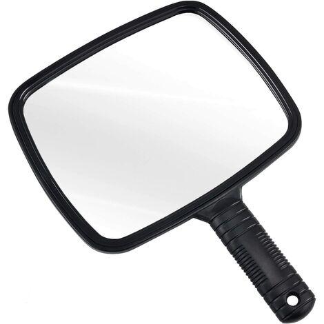 Miroir de coiffeur manuel pour salons professionnels avec poignée - Miroir à Main Rectangulaire - Miroir de Barbier - Miroir Dentiste - Miroir Maquillage