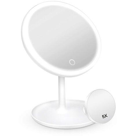 Miroir de courtoisie à 3 modes d'éclairage à LED avec lumière, miroir à grossissement 5X détachable, miroir cosmétique éclairé à chargement USB avec plateau de rangement, blanc