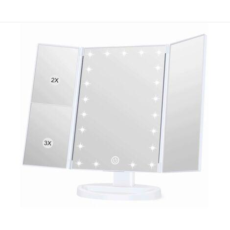 Miroir de courtoisie éclairé, grossissement 1x / 2x / 3x, miroir de courtoisie pliant, femelle, fonction de chargement USB, support réglable à 180 degrés pour miroir de courtoisie de comptoir de cuisine
