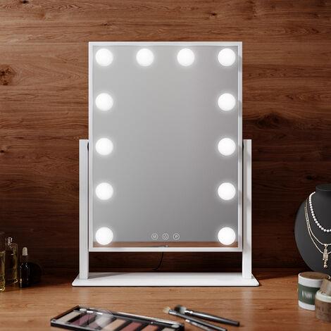 Miroir de Courtoisie Hollywood Miroir Lumineux Led 15 Ampoules 3 Couleurs Luminosité Ajustables