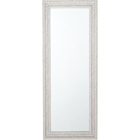 Miroir de forme longue au style classique beige et argenté