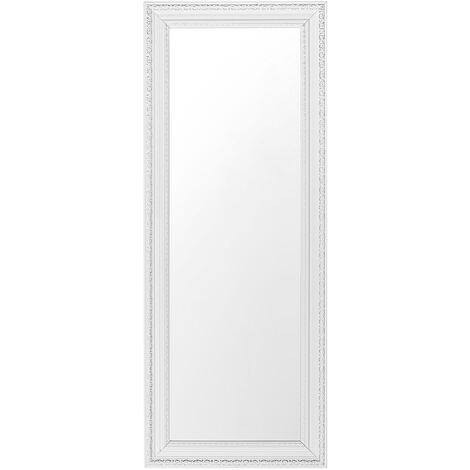 Miroir de forme longue au style classique blanc et argenté