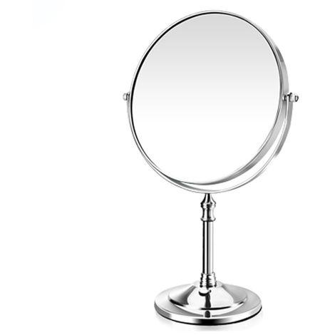 Miroir De Maquillage, 8 Pouces, Grossissement 3X, Plateau De Table Argente