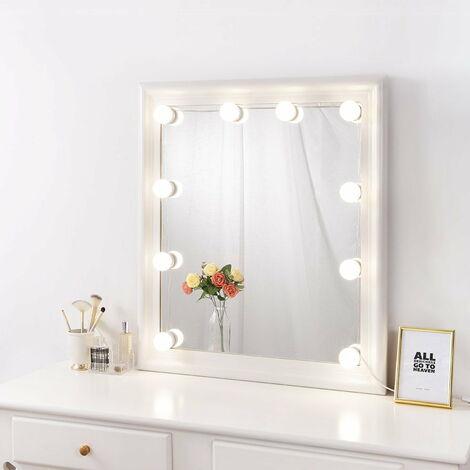 Miroir de maquillage éclairé DIY Hollywood avec lumières à intensité variable, kit de lumière de miroir à coller pour ensemble de vanité, lampe de maquillage à brancher pour miroir mural de salle de bain, (ampoule uniquement)