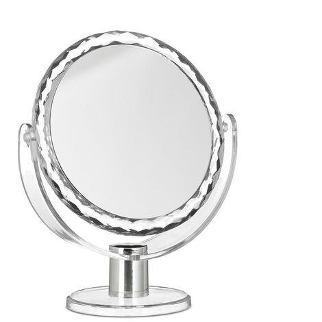 Miroir de maquillage grossissant à poser miroir rond pivotant sur pied HxlxP: 23 x 19 x 10 cm, transparent