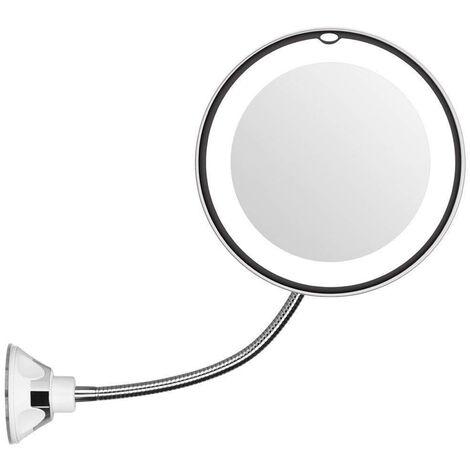 miroir de maquillage led creatif col de cygne ventouse miroir de vanite de salle de bain horizontal