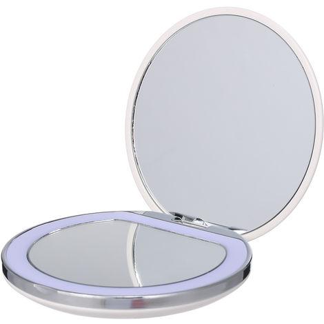 Miroir De Maquillage Led, Grossissement 1X / 3X, Blanc