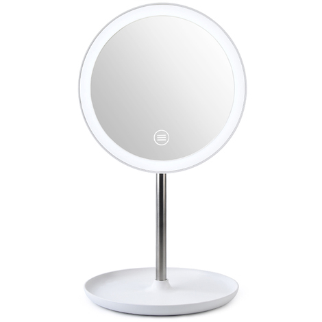 Miroir De Maquillage Led, Rotation 360 ¡ã, Luminosite Reglable, Blanc
