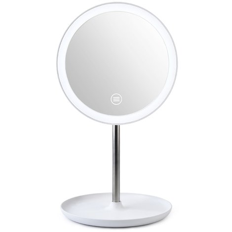 Miroir De Maquillage Led, Rotation 360 ¡ã, Luminosite Reglable, Blanc