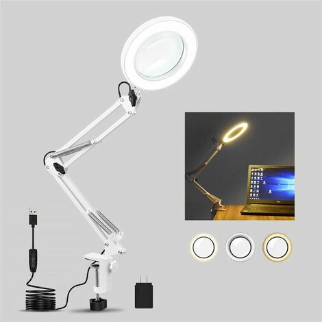 Miroir de maquillage LED USB 5x Zoom grossissant avec rotation à 360 degrés et interrupteur d\'éclairage à intensité variable, pinces à bras pivotant en métal pour table de salle de bain à domicile (