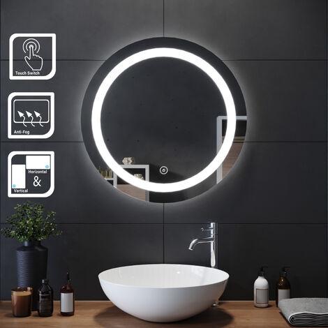 Miroir de maquillage monté sur mur avec miroir éclairé rond et rétro-éclairé par miroir de salle de bains avec contrôle par capteur