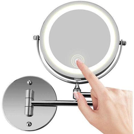 Miroir de maquillage mural, miroir de courtoisie éclairé par LED à deux côtés grossissant 10X pour salle de bain, rotatif à 360 °, rechargeable par USB et bras extensible de 7 , chrome