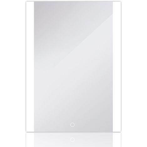 Miroir de Mur de Salle de Bains,Commande Tactile Éclairée,Angle Droit 70*50cm