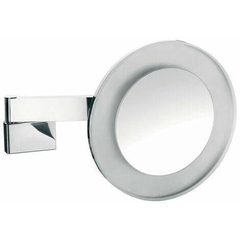 Miroir de rasage et de maquillage Emco LED, grossissement : 3x, rond, LED haute puissance, double bras articulé, câble interne - 109606028