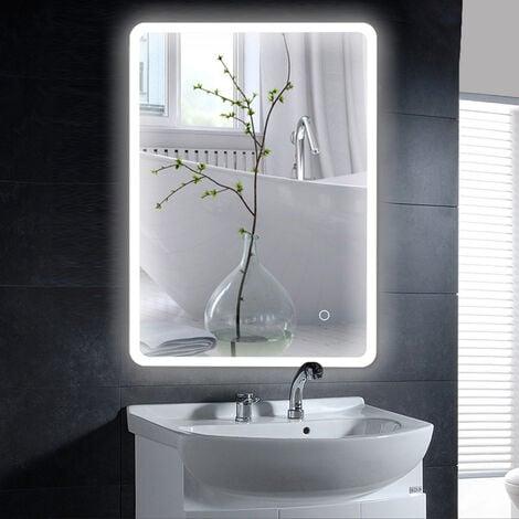 Miroir de salle de bain 120*70 cm - LED à commande tactile - Blanc froid
