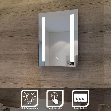 Miroir de salle de bain 50x70/45x60 CM Miroir Anti-buée avec éclairage LED Miroir Cosmétiques Mural Interrupteur tactile SIRHONA