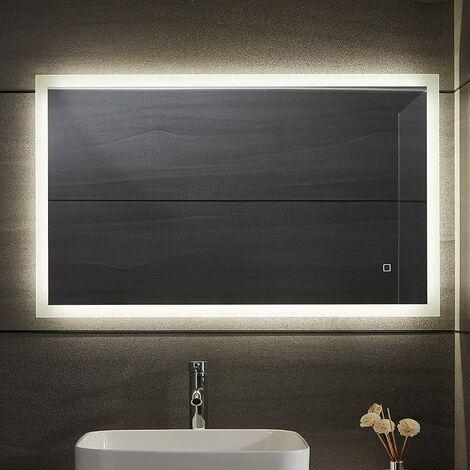 """main image of """"Miroir de salle de bain à LED - antibuée, gradable, 3 couleurs de lumière 3000-7000K, blanc froid, blanc chaud neutre, économie d'énergie, vertical / horizontal, sélection de modèle - miroir de salle de bain, miroir lumineux (50 x 70 cm)"""""""
