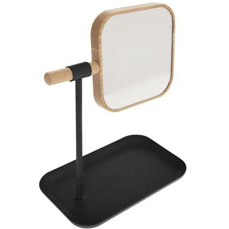 Miroir de salle de bain amovible scandi Natureo - Noir