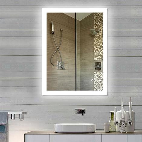 Miroir de salle de bain Anti-buee Interrupteur tactile 2835 Bande de lumiere LED 80 * 60 cm