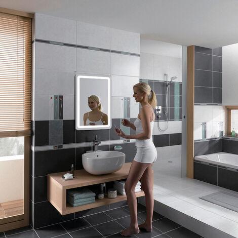 Miroir de salle de bain avec éclairage LED 9W 50x70cm