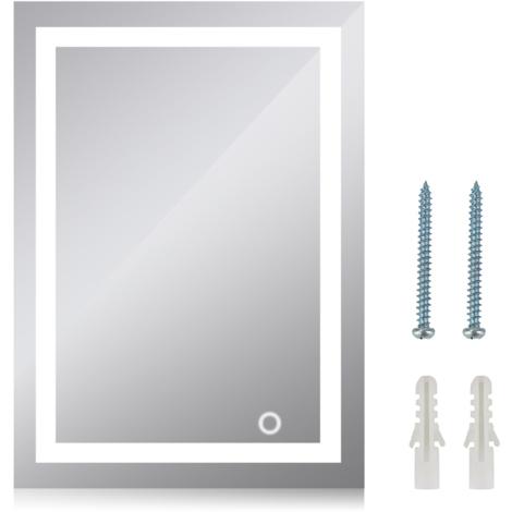 Miroir de salle de bain avec éclairage LED Miroir lumineux à LED avec interrupteur d'éclairage pour salle de bain 60*80cm