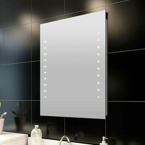 Miroir de salle de bain avec lumières LED 50 x 60 cm (L x H)