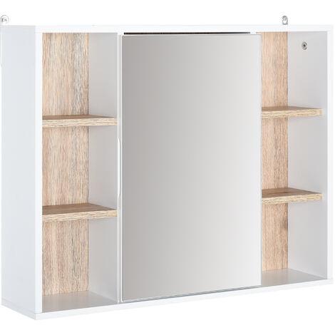 Miroir de salle de bain avec placard et étagères - 4 étagères latérales + 2 étagères intérieures - MDF panneaux particules blanc chêne clair